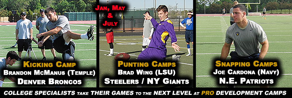 KICKERS, PUNTERS & SNAPPERS PRO DEVELOPMENT CAMPS IN ARIZONA (JAN & MAY) WISC. (JULY)